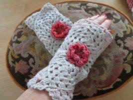 handmade unikat Jambière gris clair-rose laine