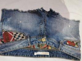 Patched Jeans, Kurze Damen Jeanshose, Hotpants, Shorts Ethno Bohemian Distressed
