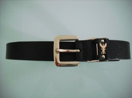 Patrizia Pepe Leather Belt black-gold-colored