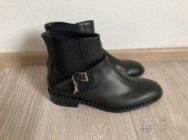 Patrizia Pepe Stiefelette Boot schwarz gold Nieten Leder Gr. 37