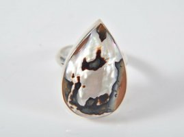 Paua Abalone Muschel Perlmutt 925 silber XL Ring silberring Seeopal  Meeresopal