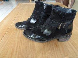 Paul Green Boots,Leder,38Lack/Kalbsleder,schwarz,Budapester
