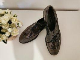 Paul Green Damen Halbschuhe Oxford Sneaker Echtleder Lack grau Größe 41 NEU