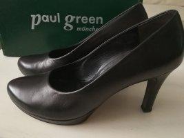 Paul Green Leder-Plateaupumps, schwarz, Größe 40