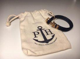 Paul Hewitt Lederen armband donkerblauw-goud