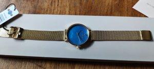 Paul Valentine Zegarek z metalowym paskiem niebieski neonowy-piaskowy brąz
