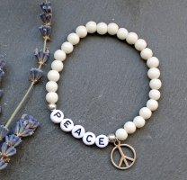 Peace • Armband Silberfarben Glasperlen