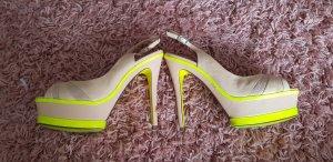 pedro garcia luxus peeptoes 38 neon gelb beige 859