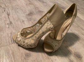 Peep-Toes HighHeels - Mit Spitze - Weiß/Taupe - Größe 37 - Stiletto