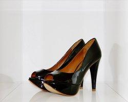 Zara Escarpins à bout ouvert noir cuir