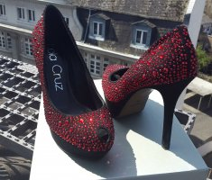 Lola cruz Platform Pumps black-red leather