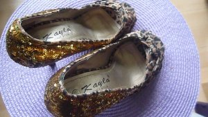 Peeptoe Schuhe Animal und goldene Pailletten in Gr. 36