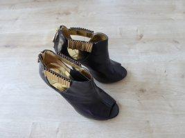 Peeptoe Stiefelette Pumps Highheels schwarz gold riesigen Reißverschluß