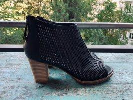 Geox Peep Toe Booties black leather