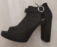 H&M Peep Toe Booties black-gold-colored