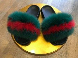 Hoge hakken sandalen veelkleurig Bont