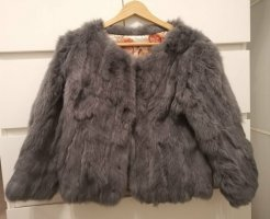 Veste de fourrure gris lilas
