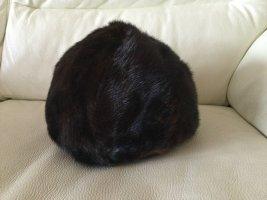 Futrzana czapka ciemnobrązowy Futro