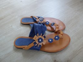 Perfetto Club Flip-Flop Sandals brown-blue leather