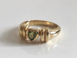Peridot Edelstein 925 Silber vg Gold Ring Silberring Herz