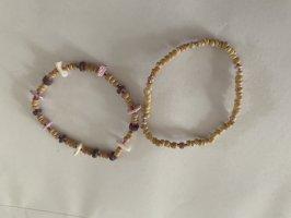 Bracelet en perles crème-violet