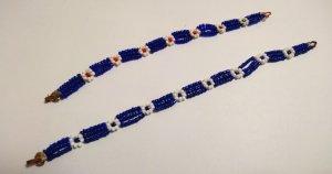 Brazalete de perlas blanco-azul