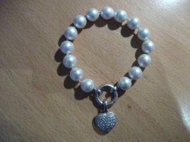 Perlen Armband mit Herz Anhänger aus 925er Silber