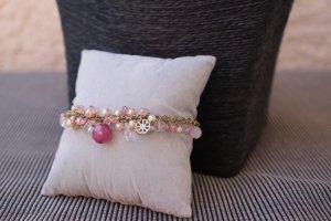 Perlen Armband Rosa Weiss