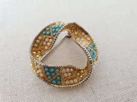 Brooch gold-colored-azure