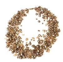 Perlen collier Kette mit 585 er Gold Verschluss