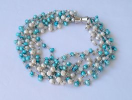 Vintage Collier Necklace multicolored mixture fibre