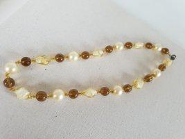 Retro Kette Collier de perles beige clair-doré