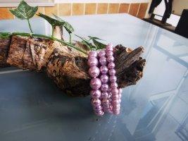 Brazalete de perlas malva tejido mezclado