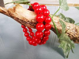 Pearl Bracelet red mixture fibre