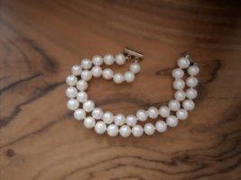 Vintage Bracelet en perles blanc cassé