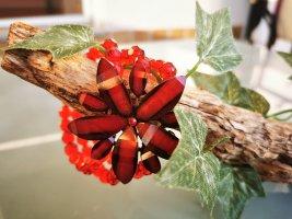 Armband met parels donkerrood-baksteenrood Gemengd weefsel