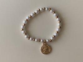 Brazalete de perlas blanco-color oro