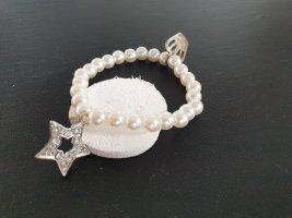 Bracelet en perles beige clair-argenté