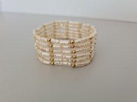 Vintage Bracciale di perle oro-bianco sporco