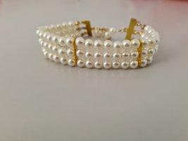 Vintage Brazalete de perlas blanco-color oro