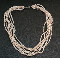 Perlencollier 7 Reihen Echte Perlen Kette  Perlen mit Silber Karabiner Verschluss
