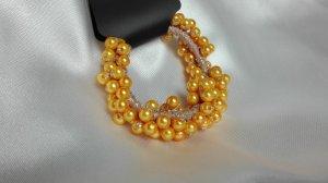 Bandeau cheveux jaune-orange doré