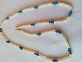 Pearl Necklace white-steel blue