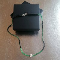 handmade unikat Collar de perlas negro-verde oscuro