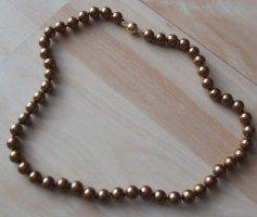 Collana di perle marrone-oro