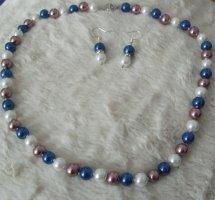 Collana di perle bianco-blu