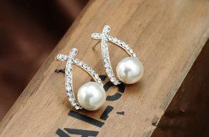Pendientes de perlas color oro-color plata