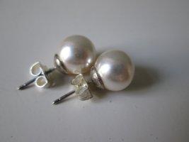 Bijou Brigitte Pendientes de perlas color plata-crema