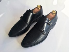 Pertini Business Leder Schuhe Größe 40 schwarz Budapester Schnalle