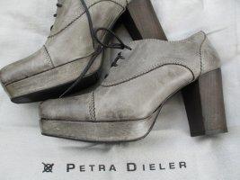 Petra Dieler Plateau Schnürschuh Bootie Ankle Boots Antiklook Vintage Grau Gr. 40